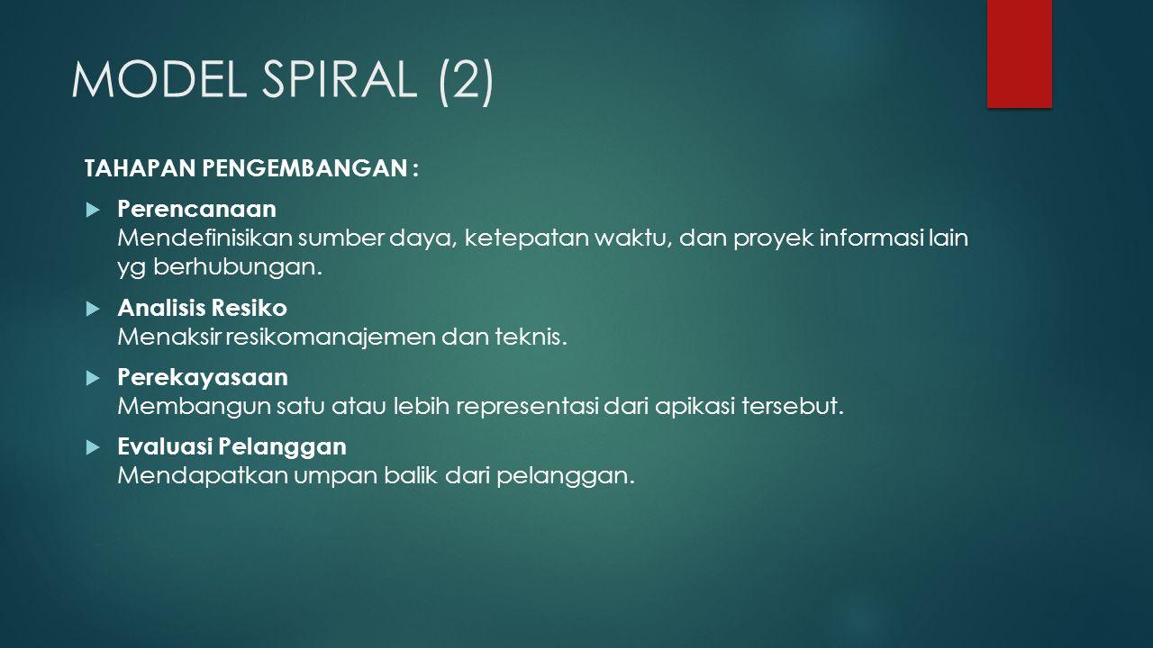 MODEL SPIRAL (2) TAHAPAN PENGEMBANGAN :