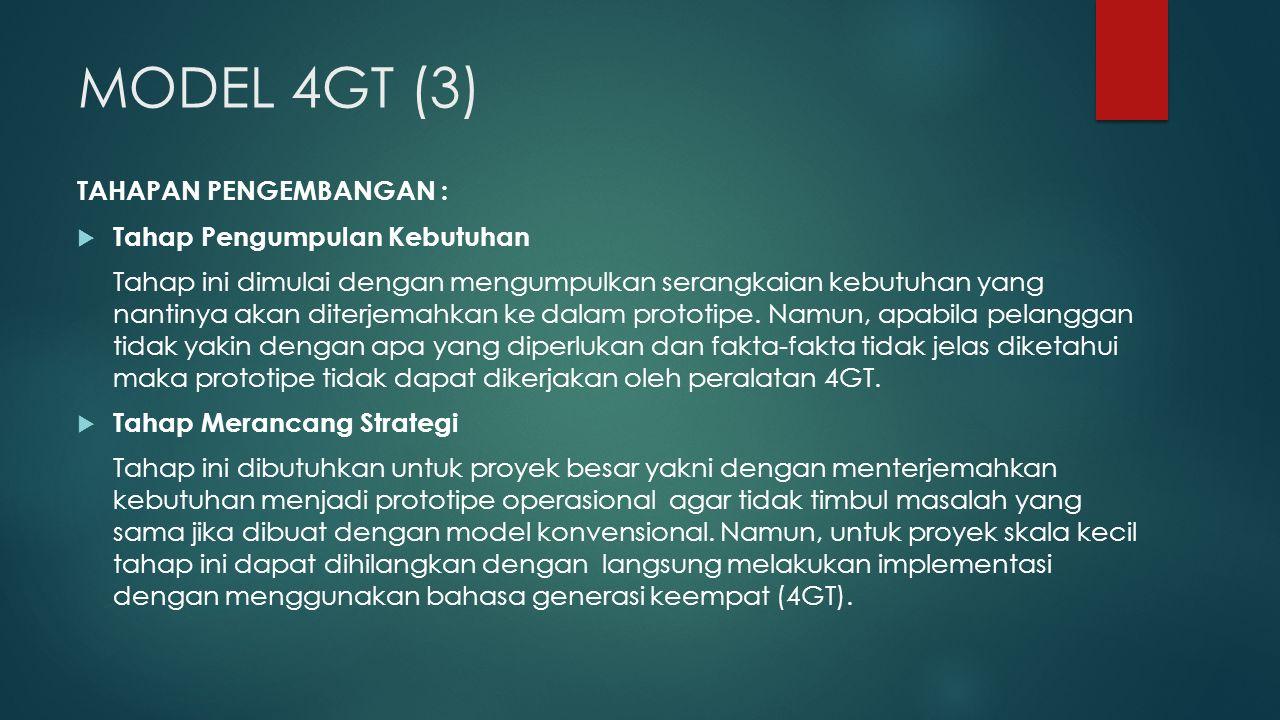 MODEL 4GT (3) TAHAPAN PENGEMBANGAN : Tahap Pengumpulan Kebutuhan
