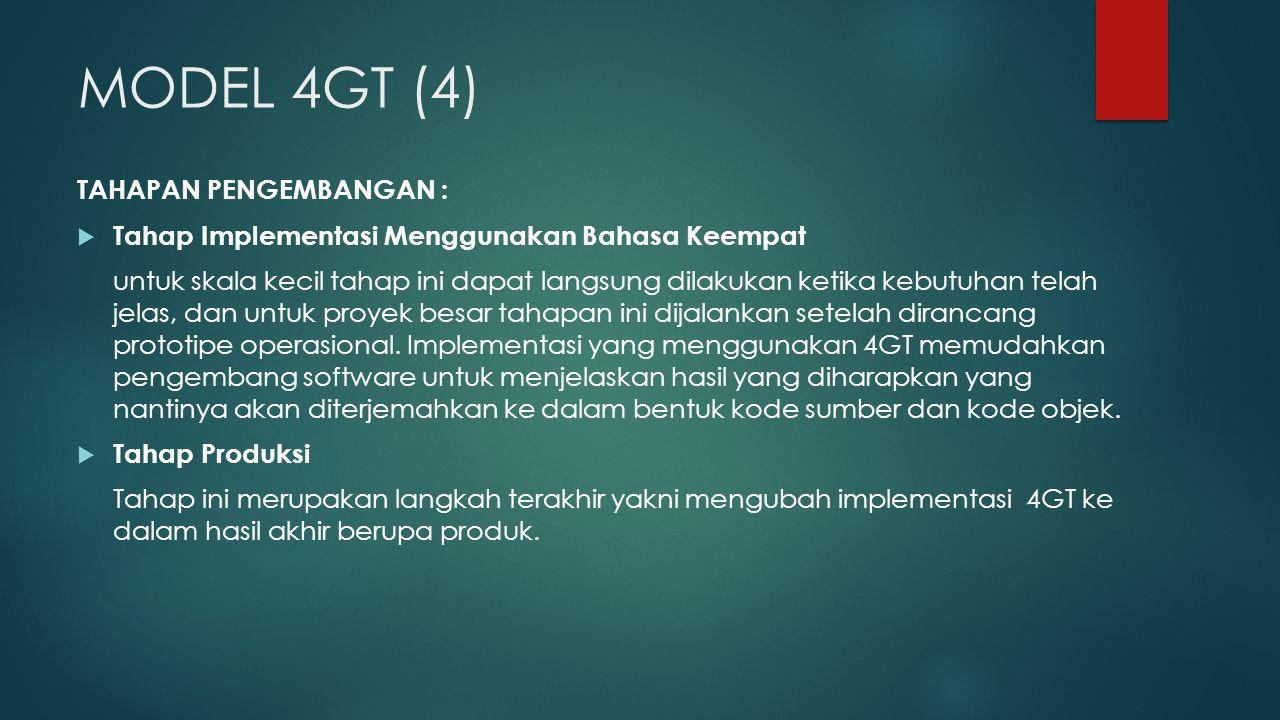 MODEL 4GT (4) TAHAPAN PENGEMBANGAN :