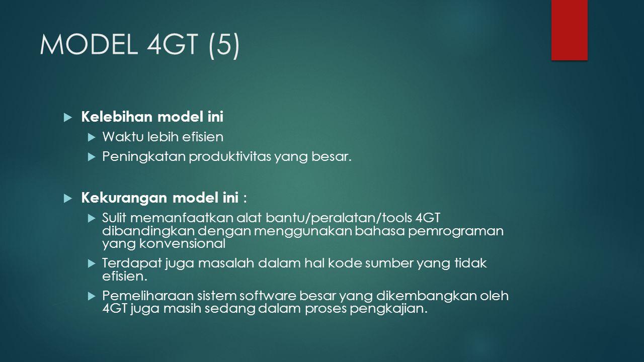 MODEL 4GT (5) Kelebihan model ini Kekurangan model ini :