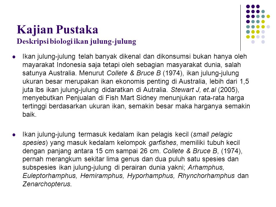 Kajian Pustaka Deskripsi biologi ikan julung-julung