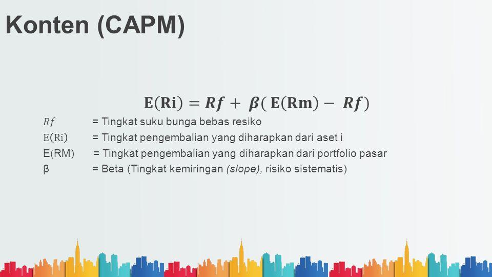 Konten (CAPM) 𝐄 𝐑𝐢 =𝑹𝒇+ 𝜷( 𝐄 𝐑𝐦 − 𝑹𝒇)