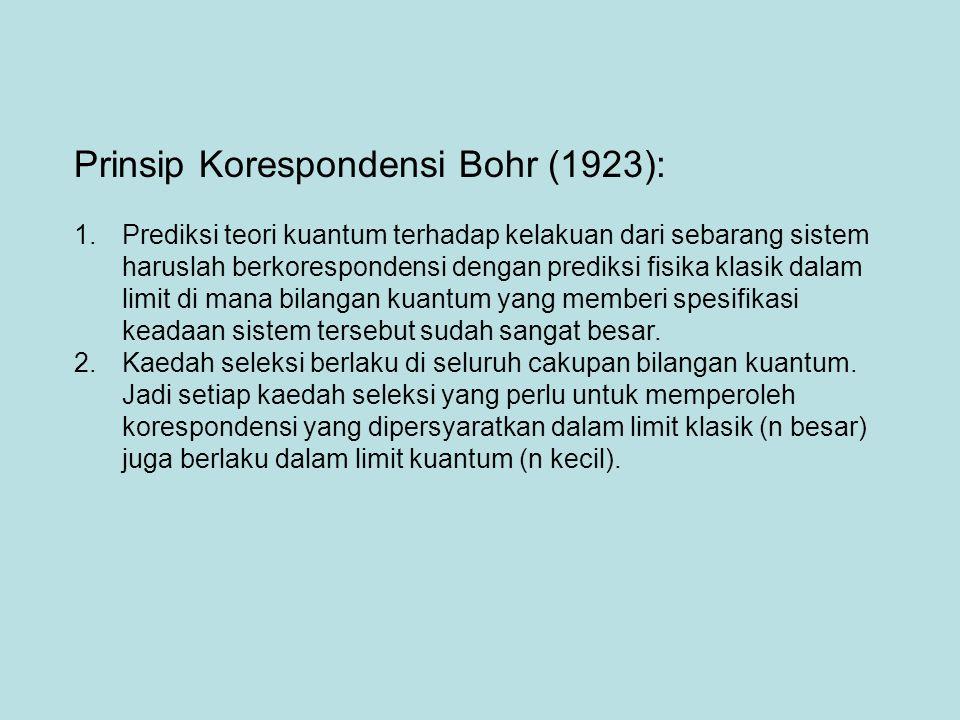 Prinsip Korespondensi Bohr (1923):