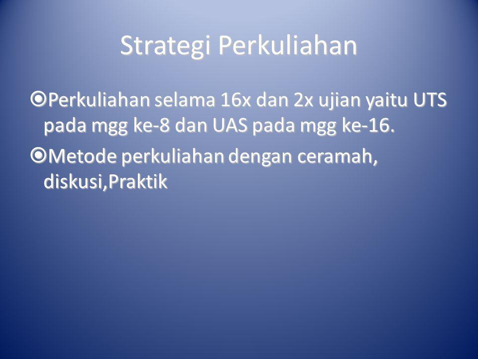 Strategi Perkuliahan Perkuliahan selama 16x dan 2x ujian yaitu UTS pada mgg ke-8 dan UAS pada mgg ke-16.