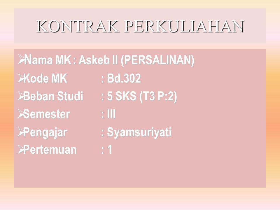 KONTRAK PERKULIAHAN Nama MK : Askeb II (PERSALINAN) Kode MK : Bd.302