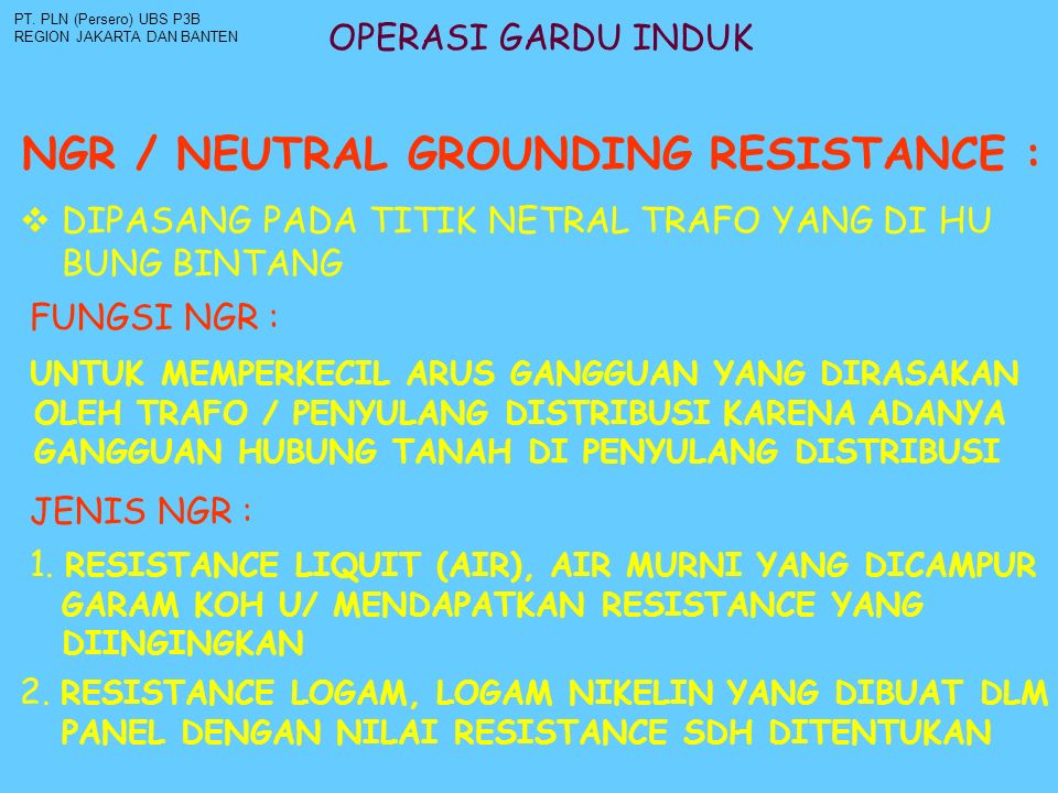 NGR / NEUTRAL GROUNDING RESISTANCE :