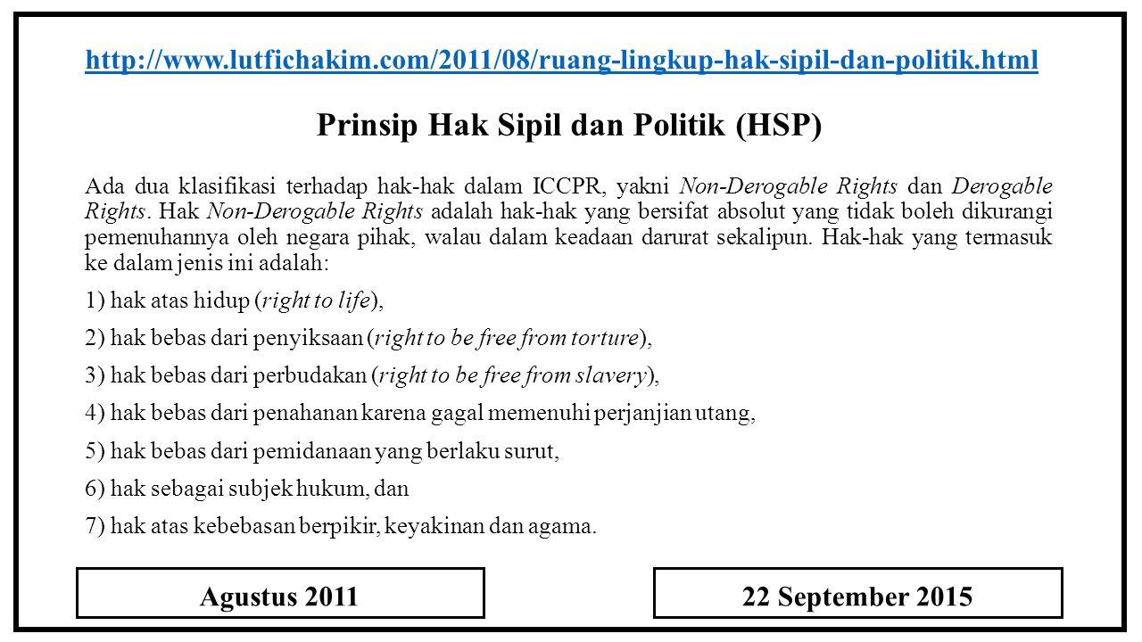 Prinsip Hak Sipil dan Politik (HSP)