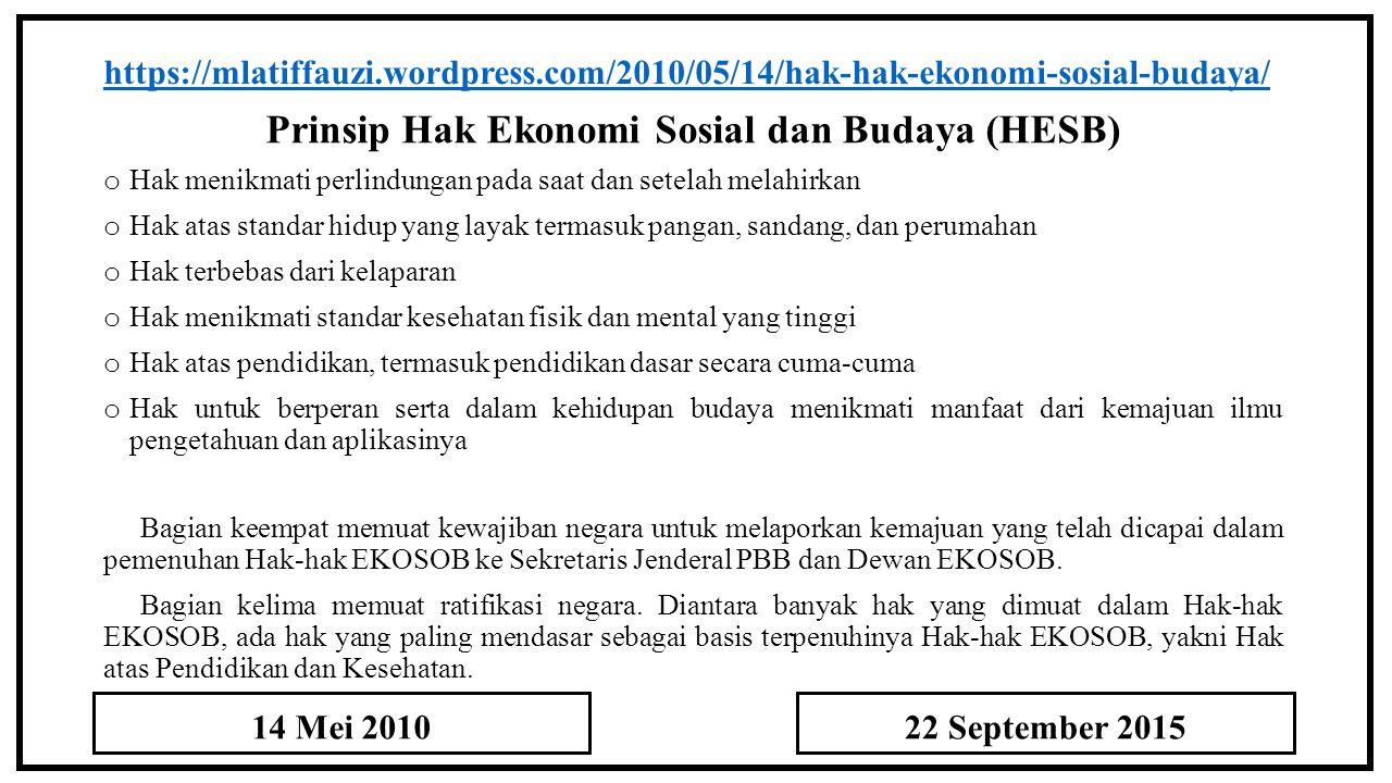 Prinsip Hak Ekonomi Sosial dan Budaya (HESB)