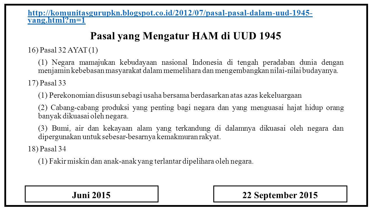 Pasal yang Mengatur HAM di UUD 1945