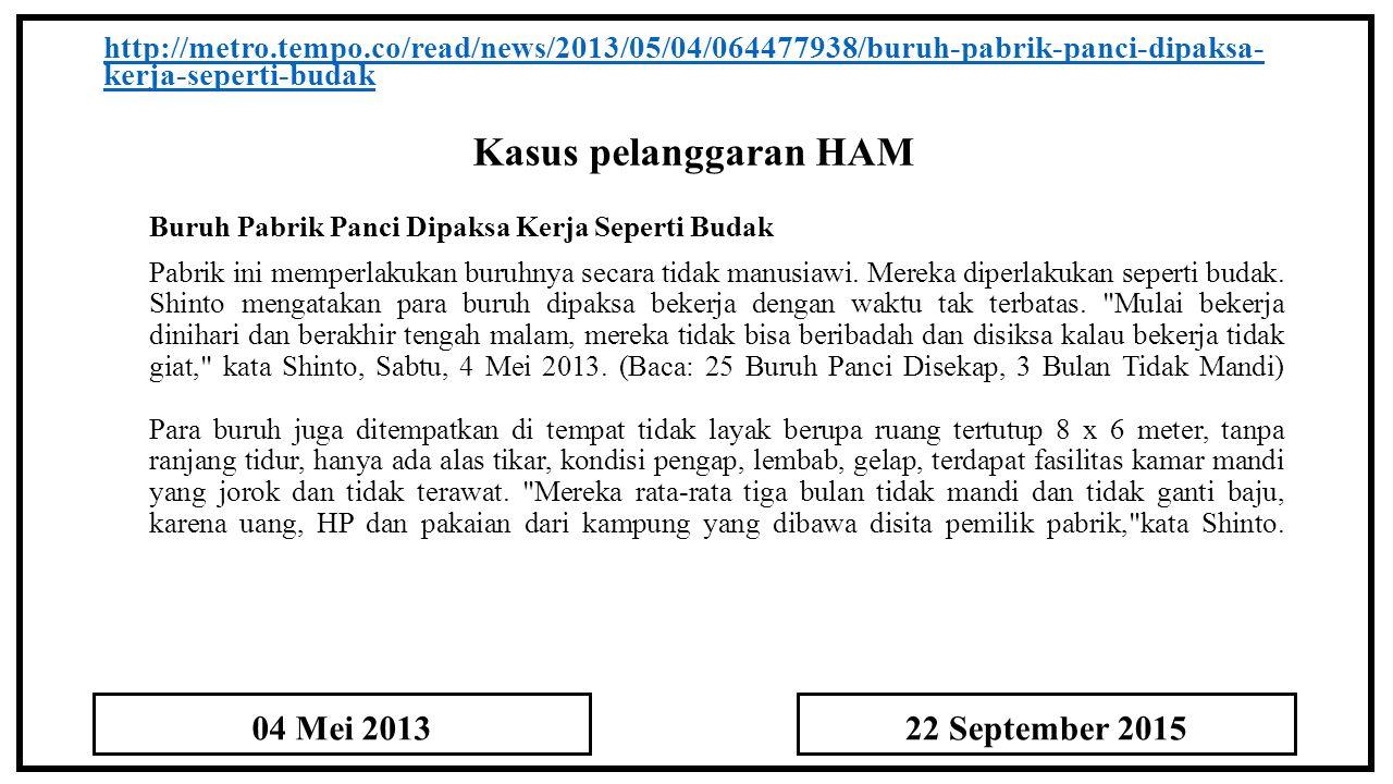Kasus pelanggaran HAM 04 Mei 2013 22 September 2015