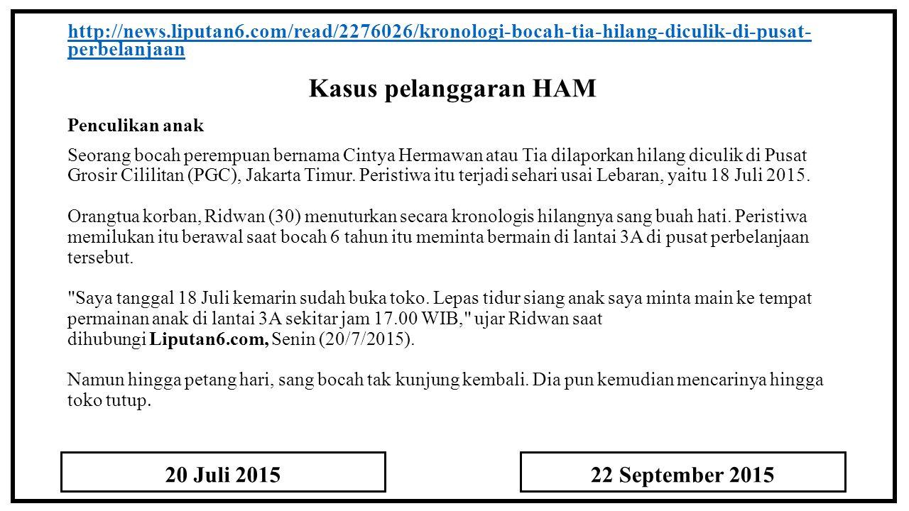 Kasus pelanggaran HAM 20 Juli 2015 22 September 2015