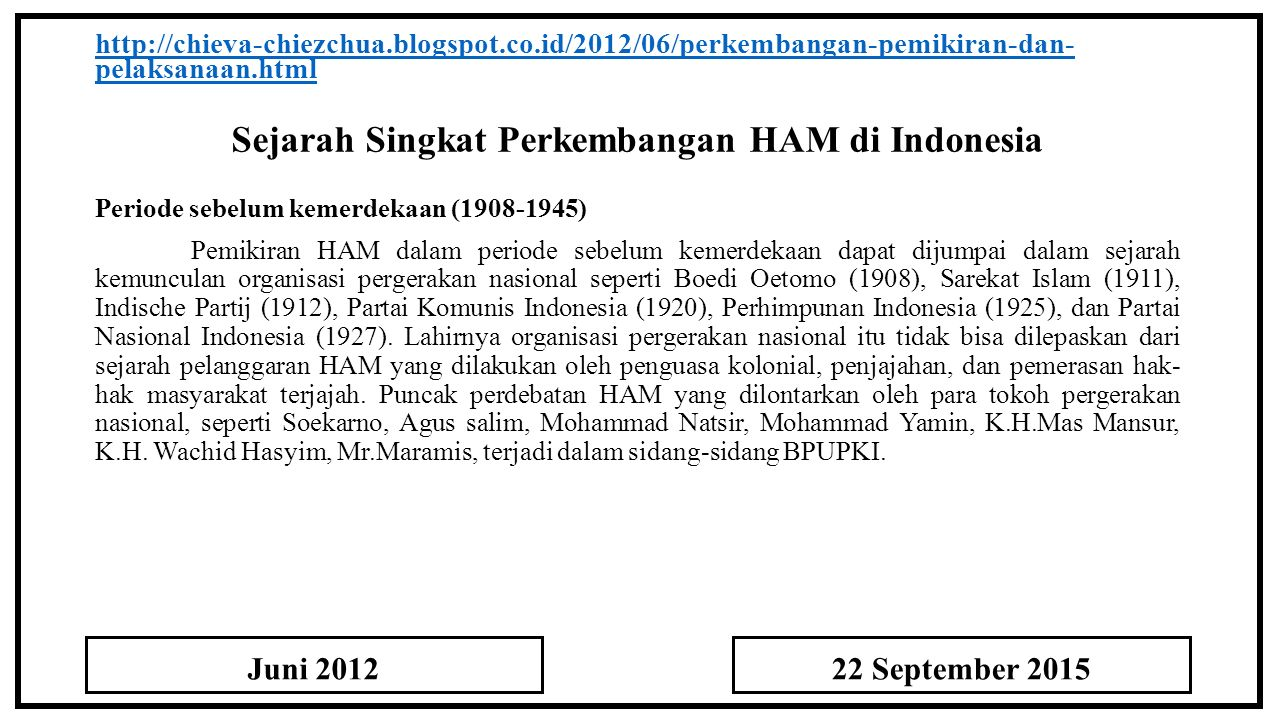 Sejarah Singkat Perkembangan HAM di Indonesia