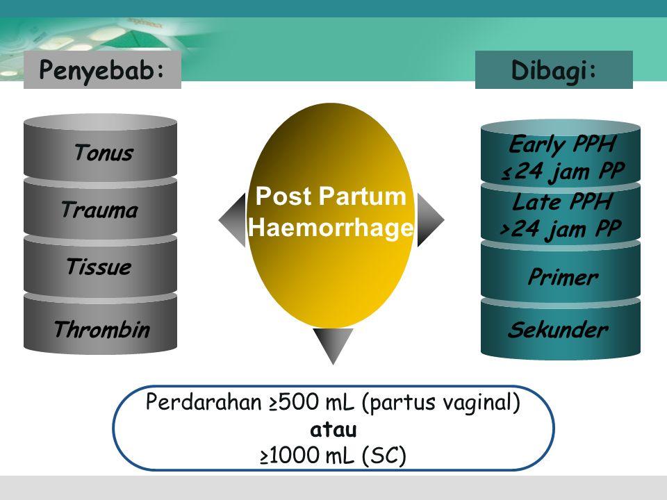 Perdarahan ≥500 mL (partus vaginal)