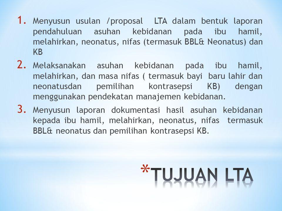 Menyusun usulan /proposal LTA dalam bentuk laporan pendahuluan asuhan kebidanan pada ibu hamil, melahirkan, neonatus, nifas (termasuk BBL& Neonatus) dan KB