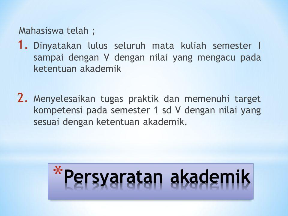Persyaratan akademik Mahasiswa telah ;