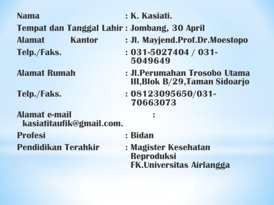 Nama : K. Kasiati. Tempat dan Tanggal Lahir : Jombang, 30 April. Alamat Kantor : Jl. Mayjend.Prof.Dr.Moestopo.