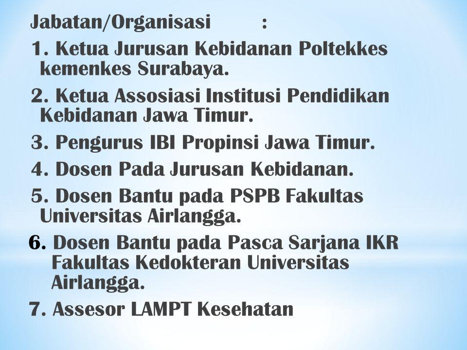 Jabatan/Organisasi : 1. Ketua Jurusan Kebidanan Poltekkes kemenkes Surabaya. 2. Ketua Assosiasi Institusi Pendidikan Kebidanan Jawa Timur.