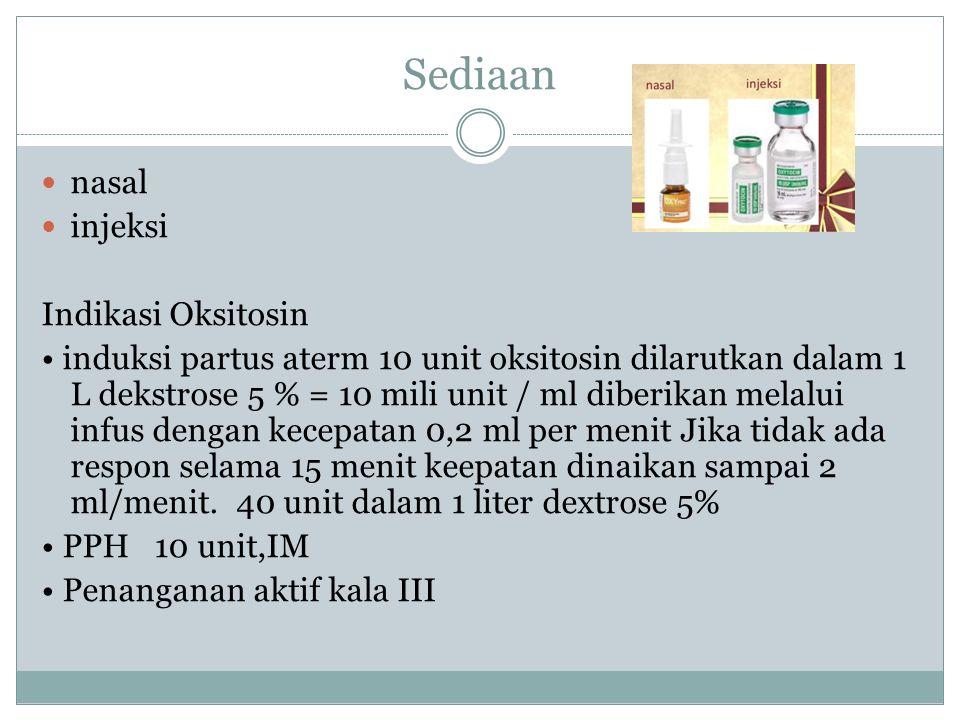 Sediaan nasal injeksi Indikasi Oksitosin