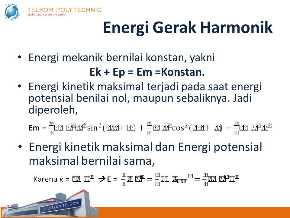 Energi Gerak Harmonik Energi mekanik bernilai konstan, yakni. Ek + Ep = Em =Konstan.