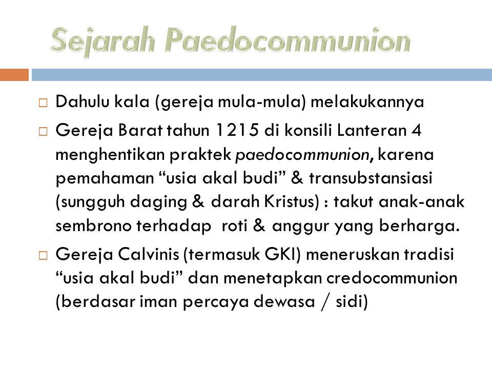 Sejarah Paedocommunion