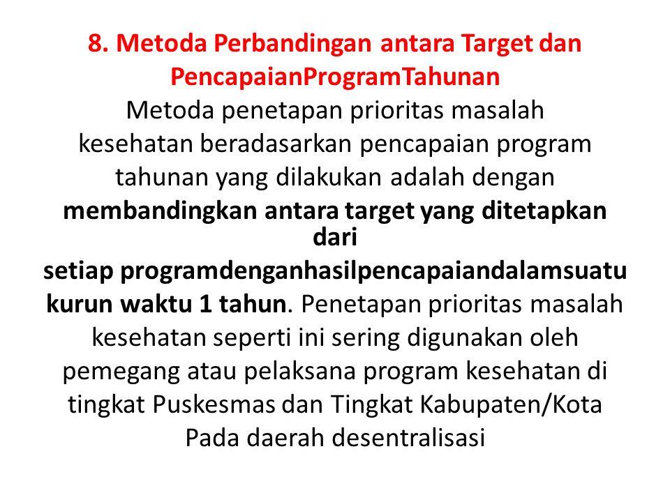 8. Metoda Perbandingan antara Target dan PencapaianProgramTahunan
