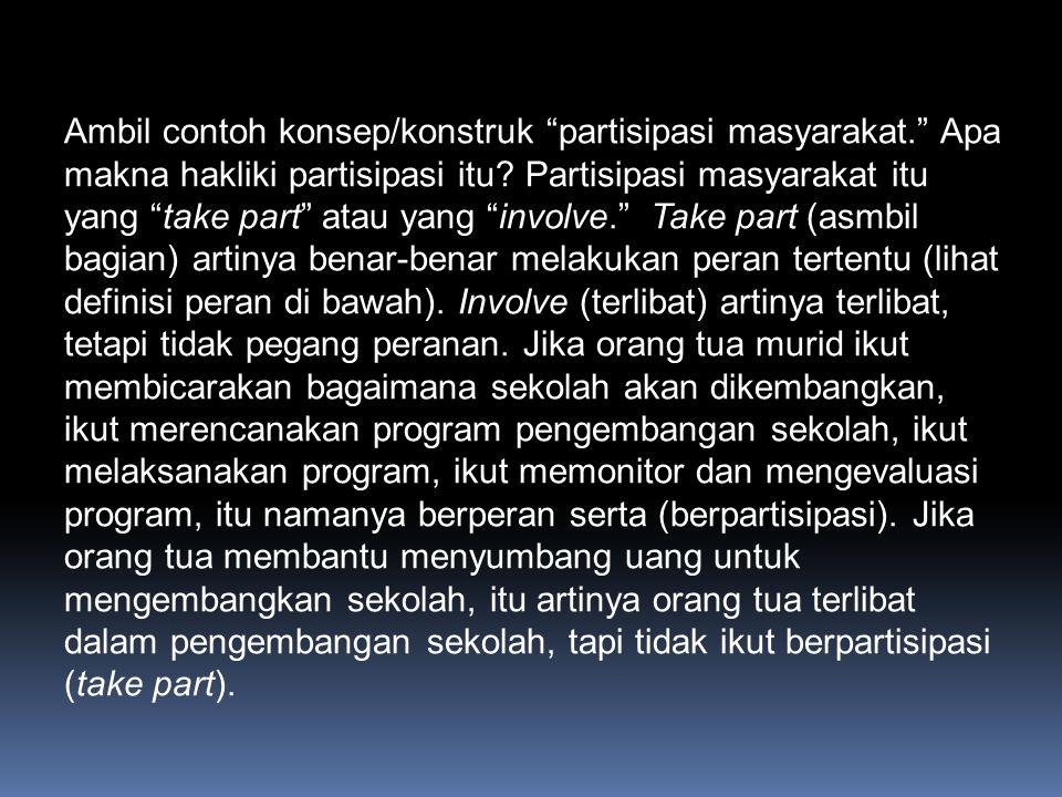 Ambil contoh konsep/konstruk partisipasi masyarakat