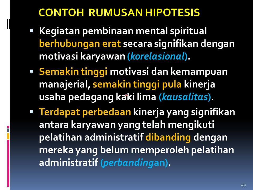 CONTOH RUMUSAN HIPOTESIS