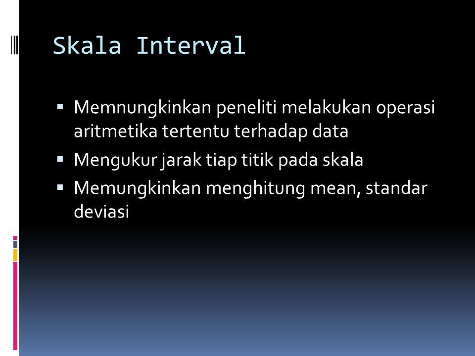 Skala Interval Memnungkinkan peneliti melakukan operasi aritmetika tertentu terhadap data. Mengukur jarak tiap titik pada skala.