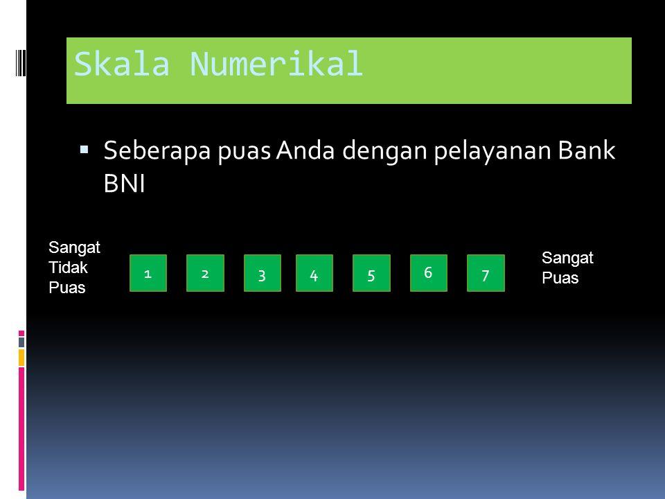 Skala Numerikal Seberapa puas Anda dengan pelayanan Bank BNI
