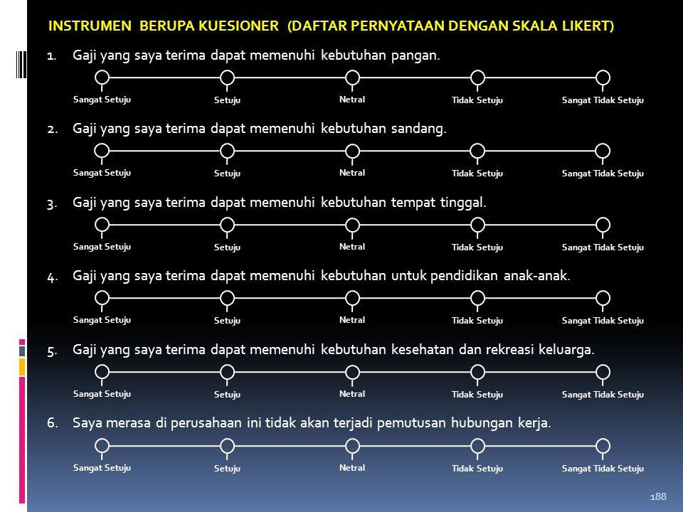 INSTRUMEN BERUPA KUESIONER (DAFTAR PERNYATAAN DENGAN SKALA LIKERT)