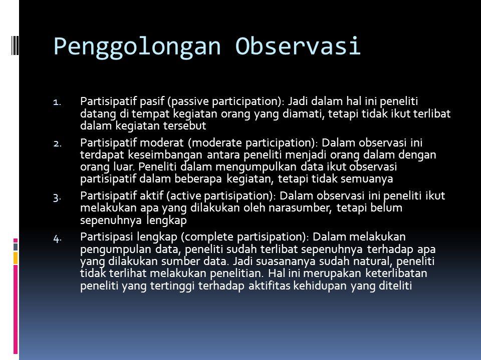 Penggolongan Observasi
