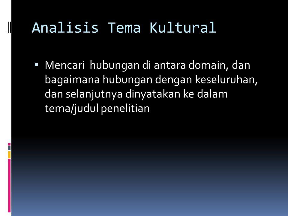 Analisis Tema Kultural