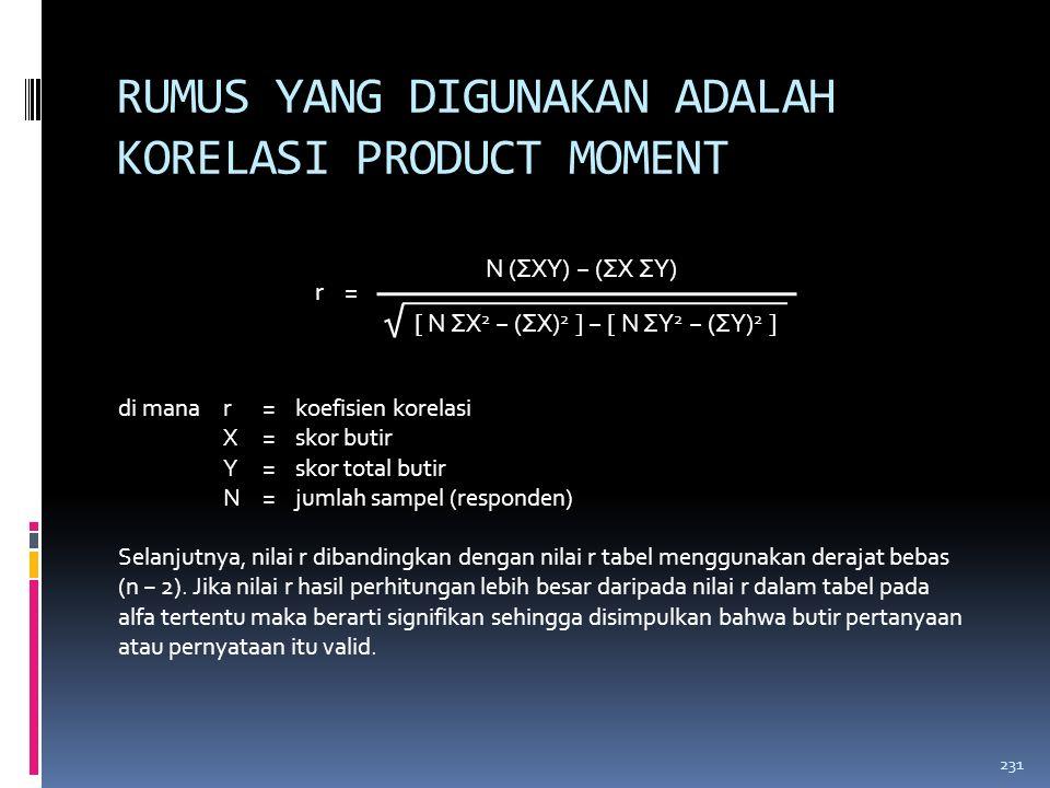 RUMUS YANG DIGUNAKAN ADALAH KORELASI PRODUCT MOMENT