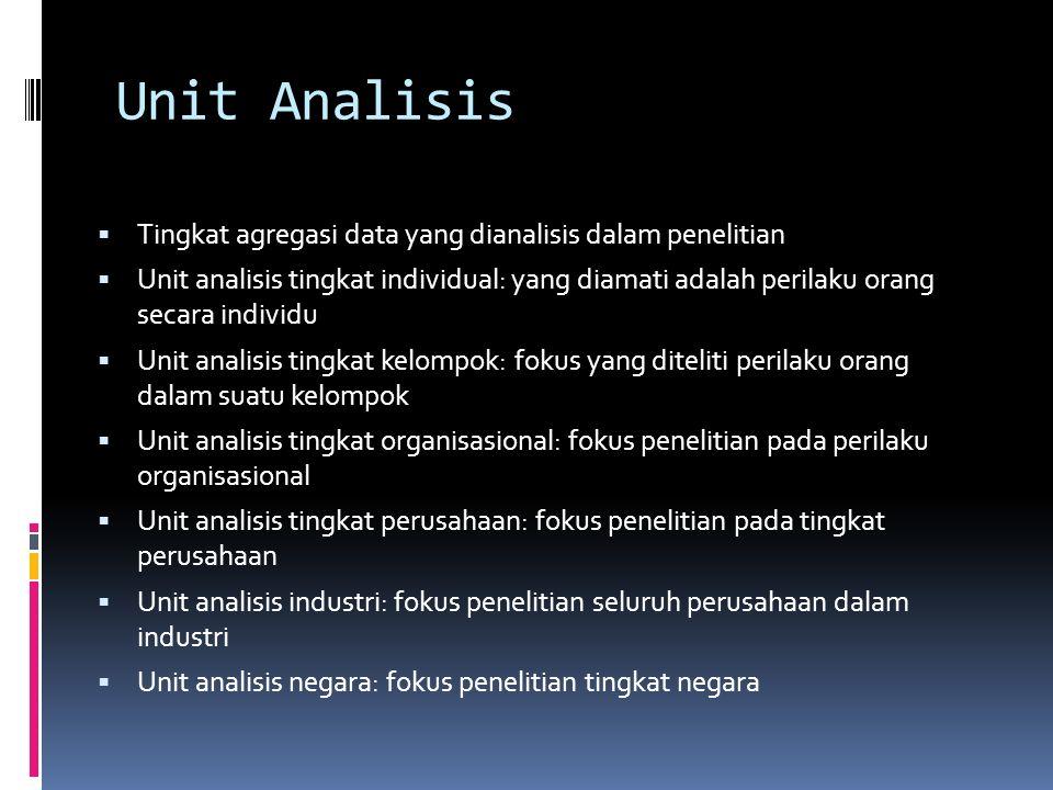 Unit Analisis Tingkat agregasi data yang dianalisis dalam penelitian