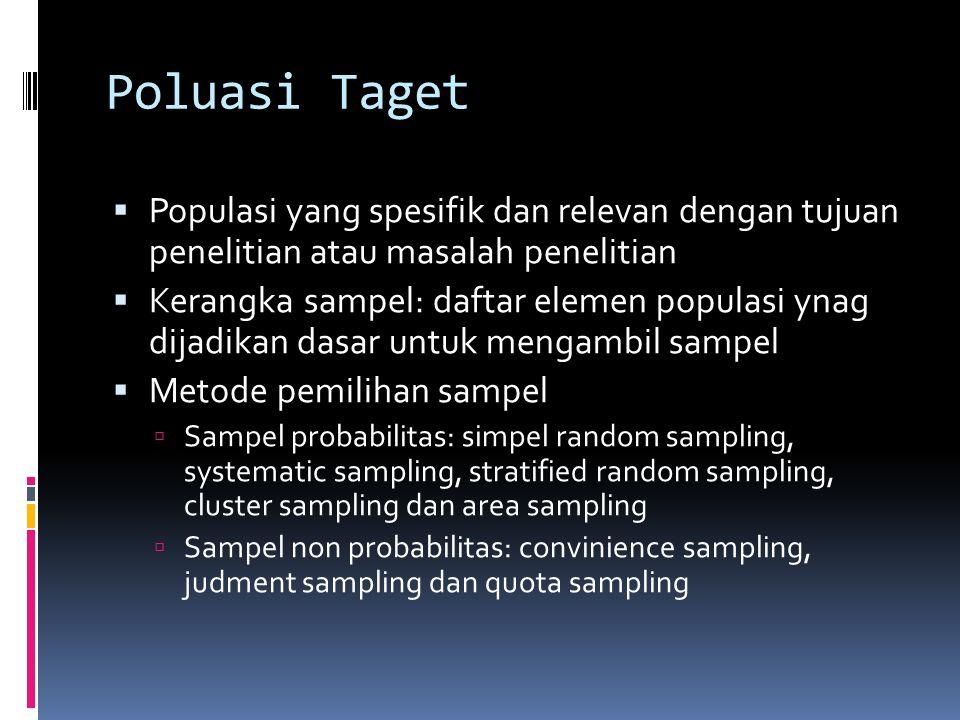 Poluasi Taget Populasi yang spesifik dan relevan dengan tujuan penelitian atau masalah penelitian.