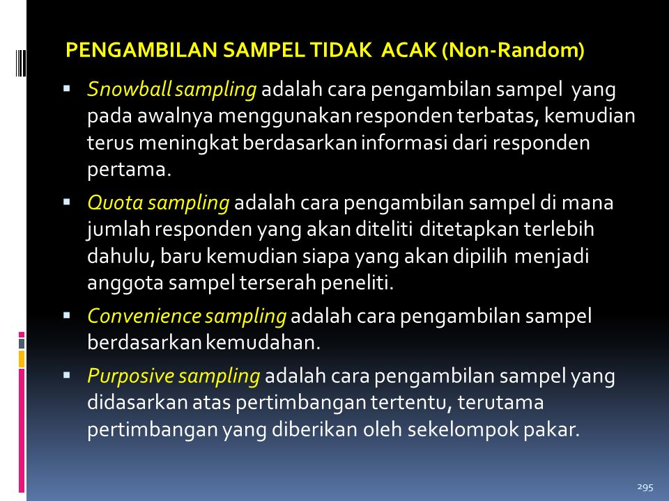 PENGAMBILAN SAMPEL TIDAK ACAK (Non-Random)