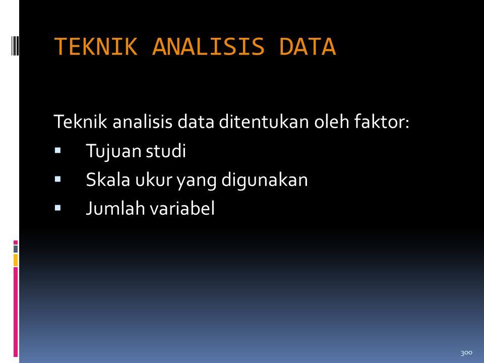 TEKNIK ANALISIS DATA Teknik analisis data ditentukan oleh faktor: