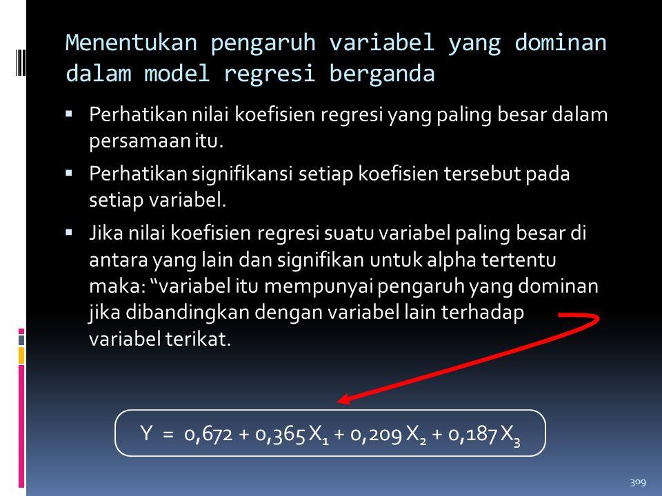 Menentukan pengaruh variabel yang dominan dalam model regresi berganda