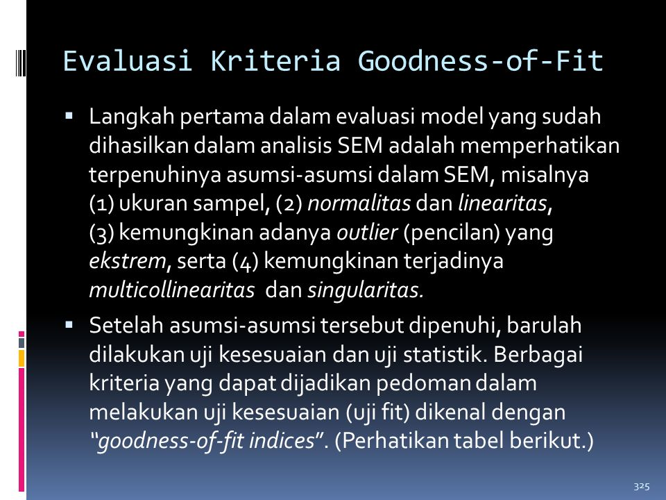 Evaluasi Kriteria Goodness-of-Fit