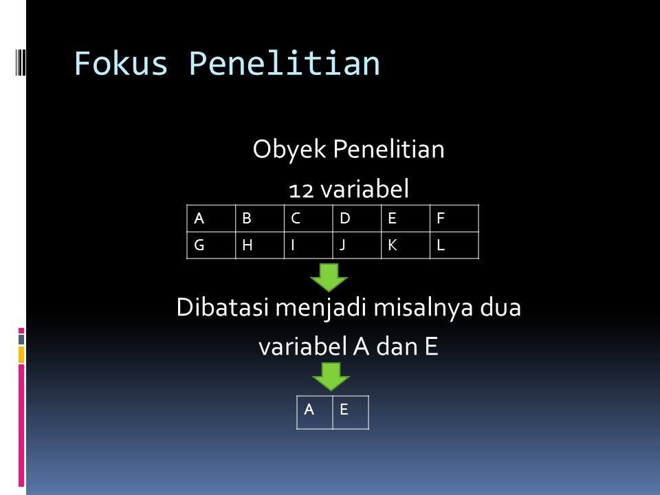Fokus Penelitian Obyek Penelitian 12 variabel Dibatasi menjadi misalnya dua variabel A dan E A. B.