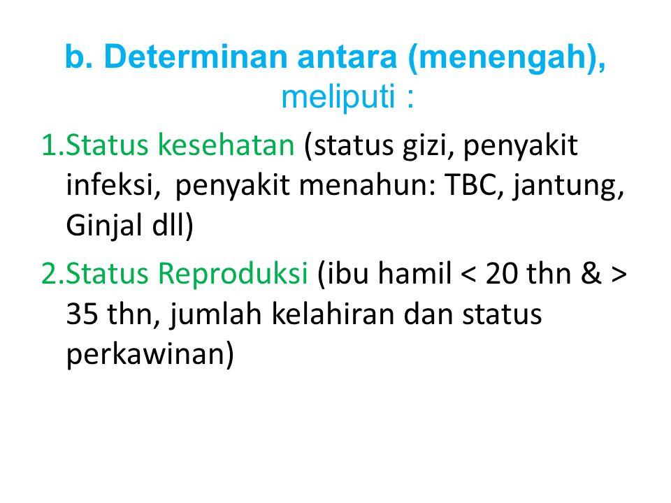 b. Determinan antara (menengah), meliputi : 1