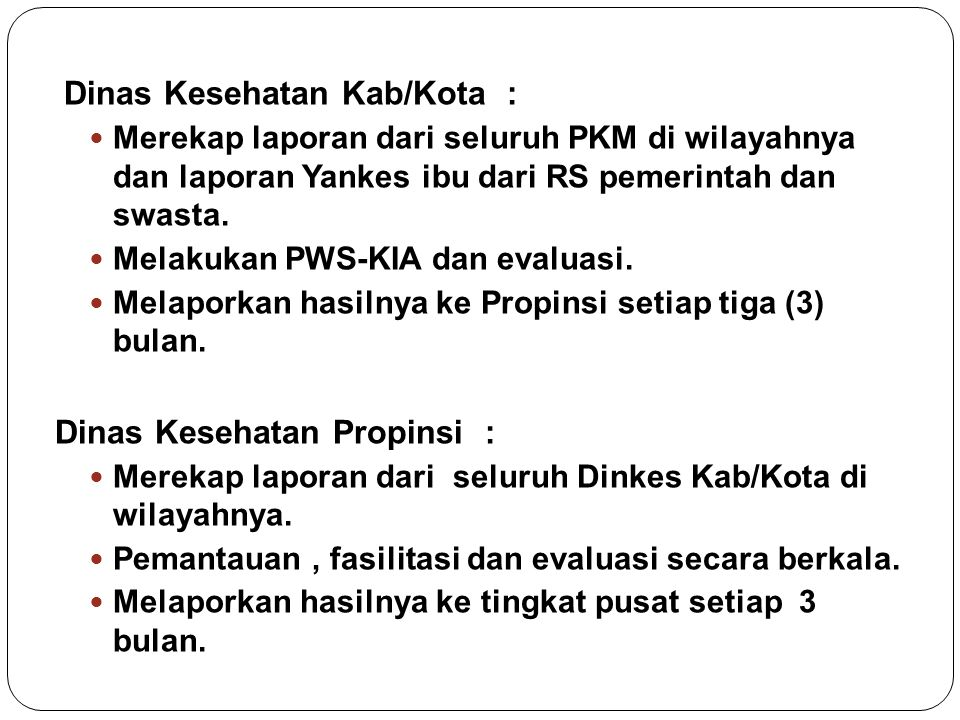 Dinas Kesehatan Kab/Kota :