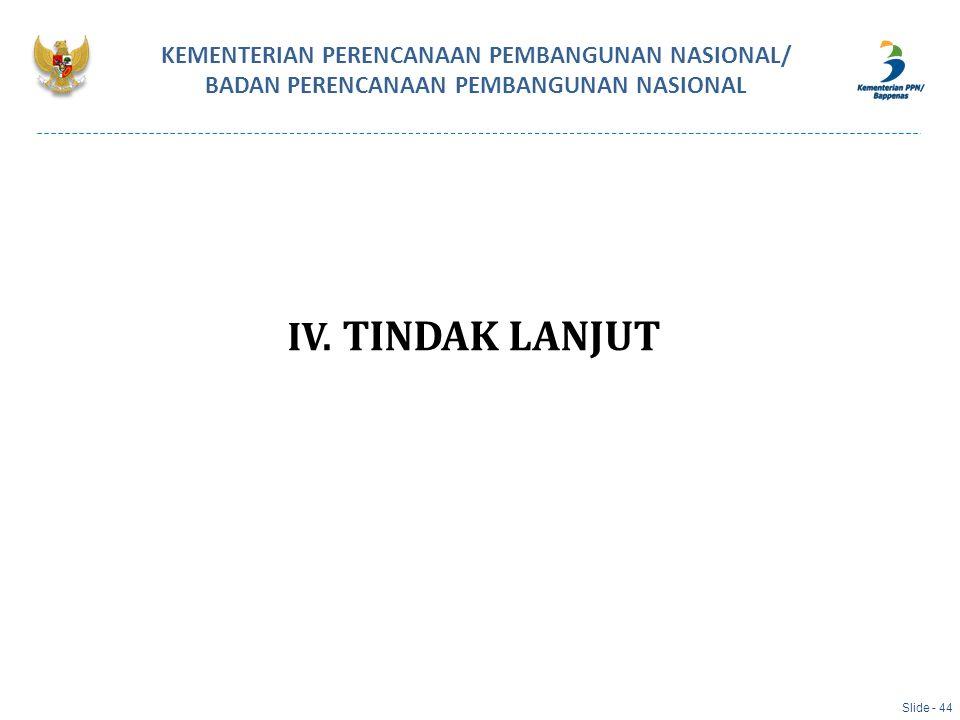 IV. TINDAK LANJUT KEMENTERIAN PERENCANAAN PEMBANGUNAN NASIONAL/