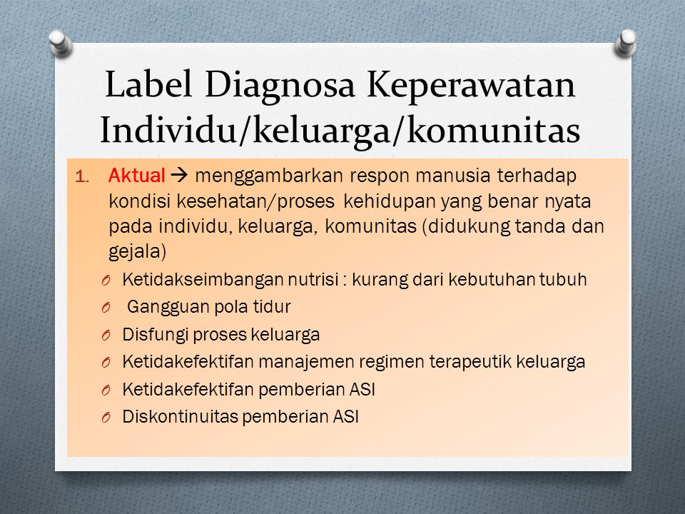 Label Diagnosa Keperawatan Individu/keluarga/komunitas