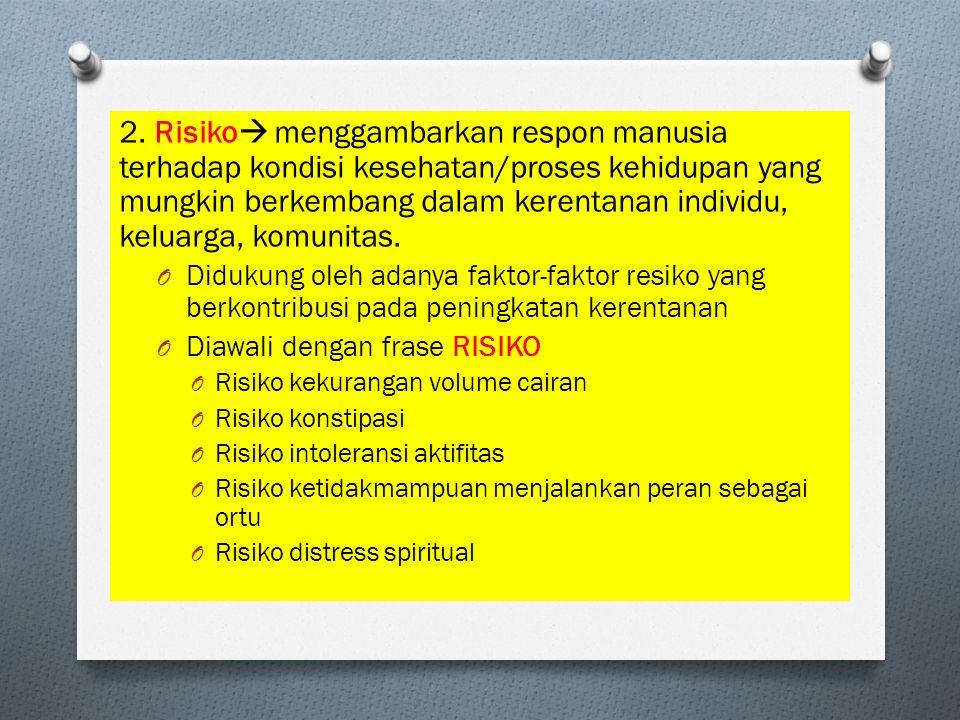 2. Risiko menggambarkan respon manusia terhadap kondisi kesehatan/proses kehidupan yang mungkin berkembang dalam kerentanan individu, keluarga, komunitas.