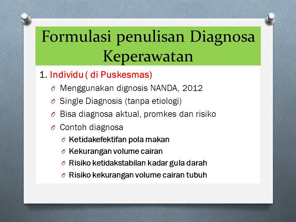 Formulasi penulisan Diagnosa Keperawatan