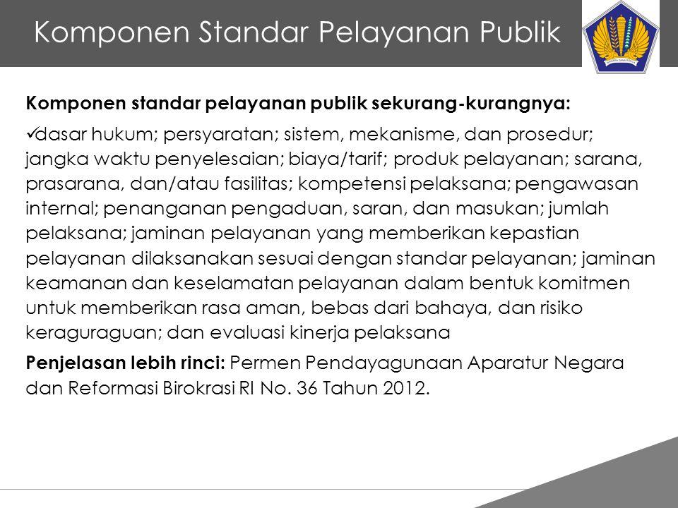 Komponen Standar Pelayanan Publik