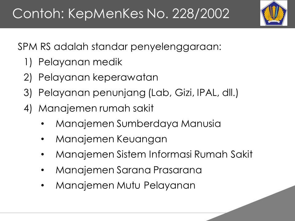 Contoh: KepMenKes No. 228/2002 SPM RS adalah standar penyelenggaraan: