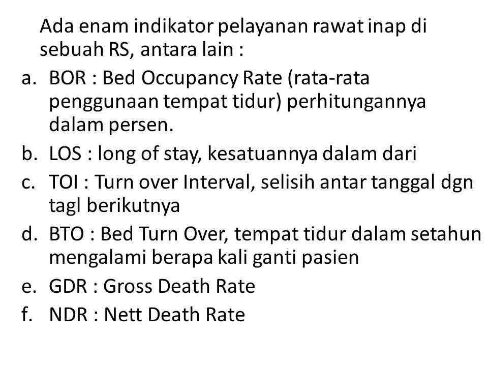 Ada enam indikator pelayanan rawat inap di sebuah RS, antara lain :