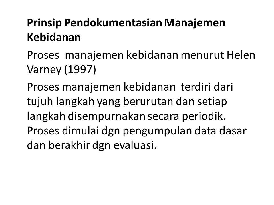 Prinsip Pendokumentasian Manajemen Kebidanan Proses manajemen kebidanan menurut Helen Varney (1997) Proses manajemen kebidanan terdiri dari tujuh langkah yang berurutan dan setiap langkah disempurnakan secara periodik.